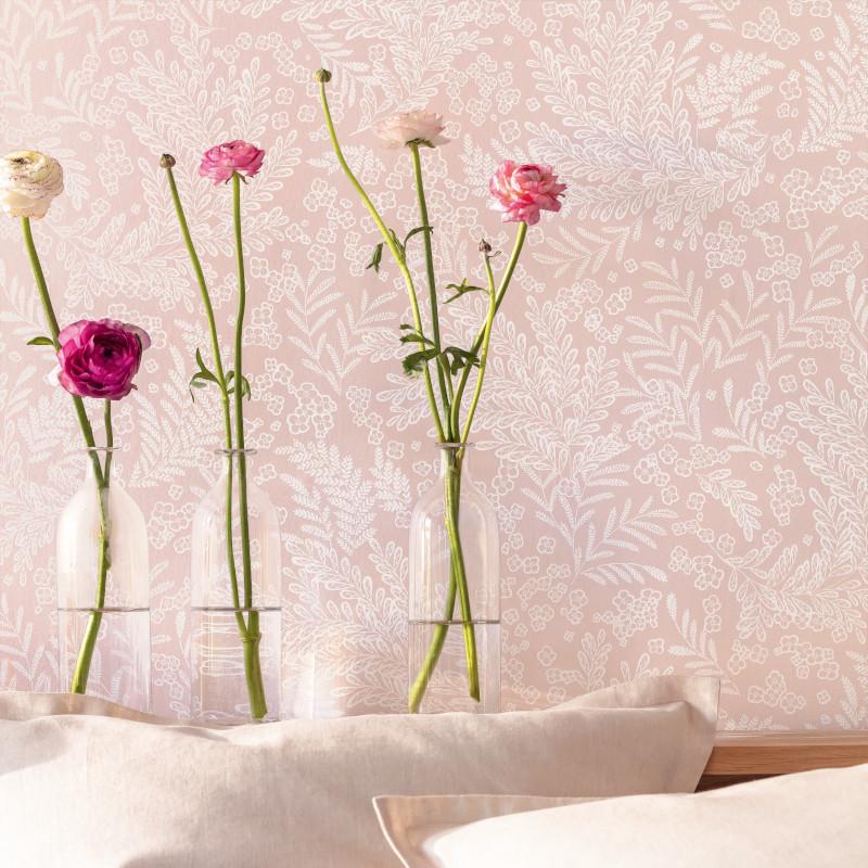 Papier peint September rose nude - FLOWER POWER - Caselio - FLP101894040