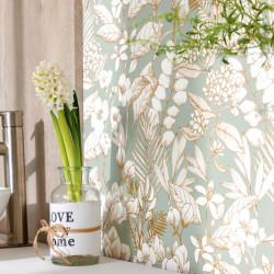 Papier peint May vert d'eau doré - FLOWER POWER - Caselio - FLP101857024