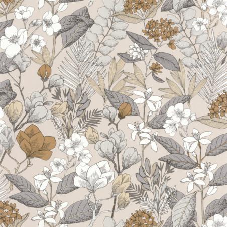 Papier peint May beige gris - FLOWER POWER - Caselio - FLP101851099