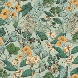 Papier peint May vert émeraude doré - FLOWER POWER - Caselio - FLP101857129