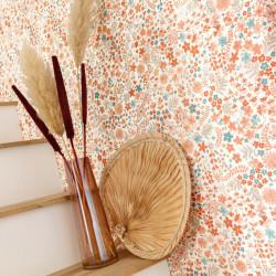 Papier peint June corail vert - FLOWER POWER - Caselio - FLP101863073