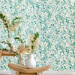 Papier peint June vert émeraude doré  - FLOWER POWER - Caselio - FLP101867126