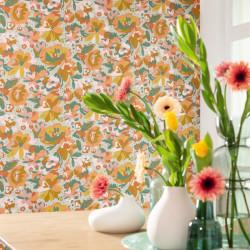 Papier peint July vert d'eau ocre et corail - FLOWER POWER - Caselio - FLP101877023