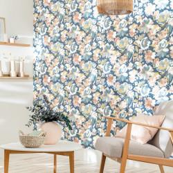 Papier peint July bleu rose - FLOWER POWER - Caselio - FLP101876041
