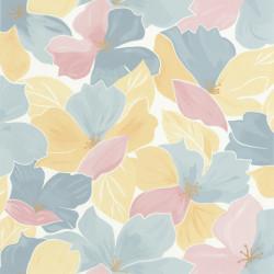 Papier peint August bleu rose doré - FLOWER POWER - Caselio - FLP101886042