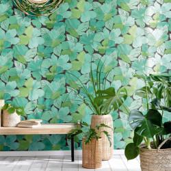Papier peint August vert émeraude doré - FLOWER POWER - Caselio - FLP101887124