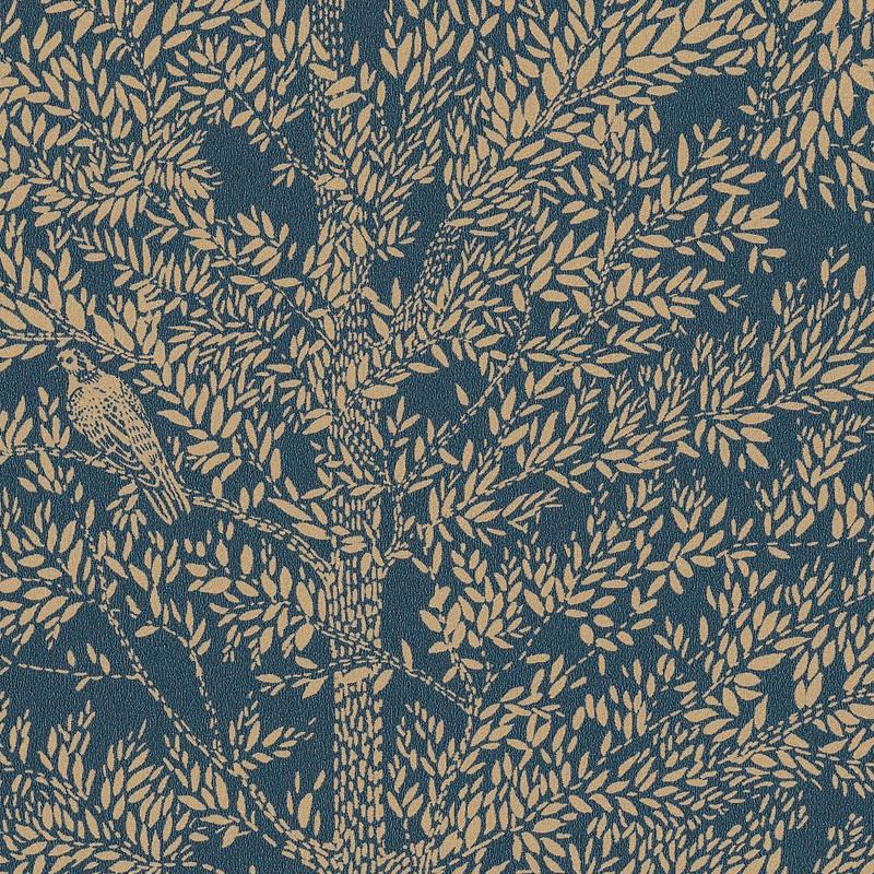 Papier peint Cosy Nest bleu pétrole or - THE PLACE TO BED - Caselio - PTB101806127