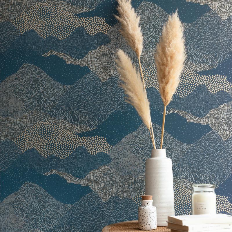 Papier peint Mister Sandman bleu pétrole or - THE PLACE TO BED - Caselio - PTB101816120