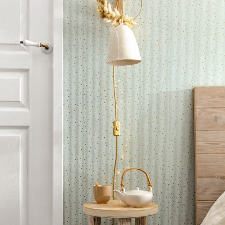 Papier peint Lullaby vert amande or - THE PLACE TO BED - Caselio - PTB101837021