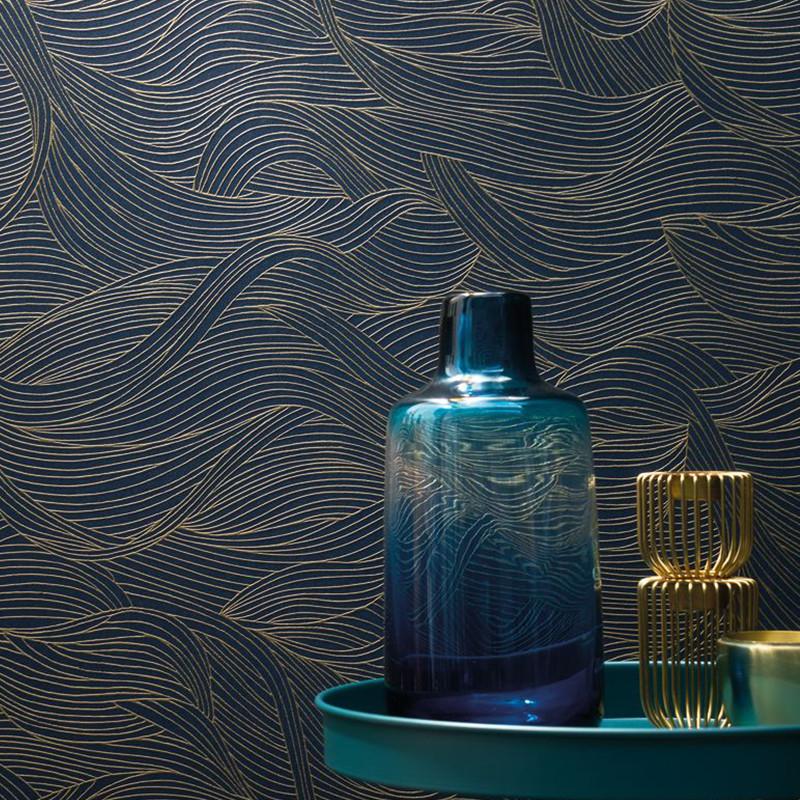 Papier peint Alula bleu nuit - BLOSSOM - Casamance - 74360620