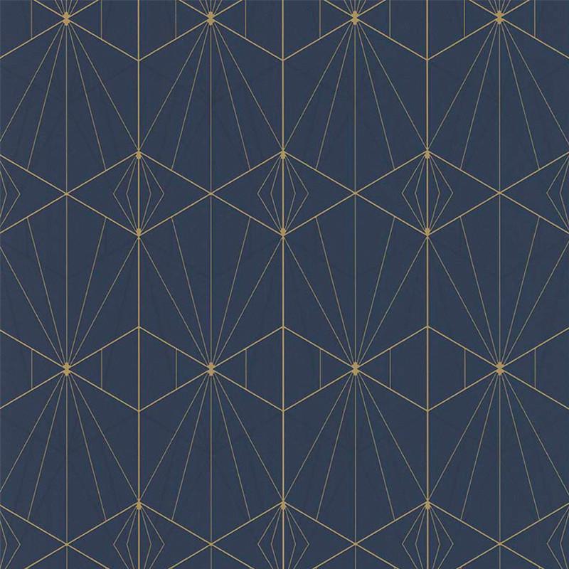 Papier peint Art Deco bleu et doré - PARK AVENUE - Lutèce - 51192501