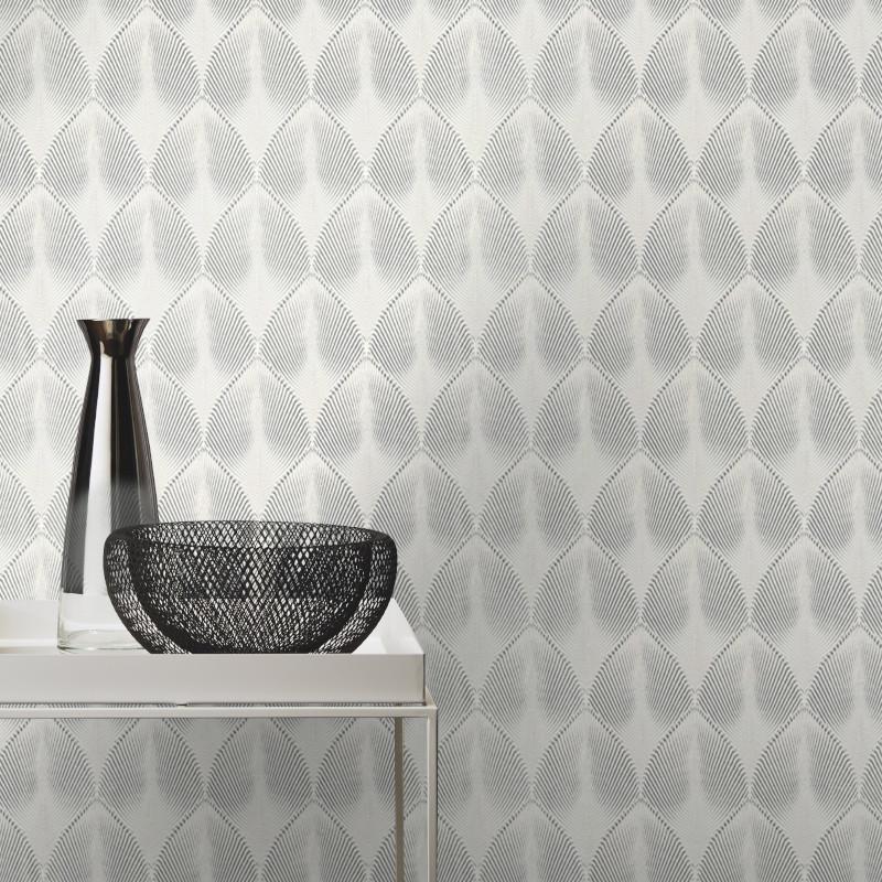 Papier peint Come Art Déco gris argenté - YUCATAN - Rasch - 535839