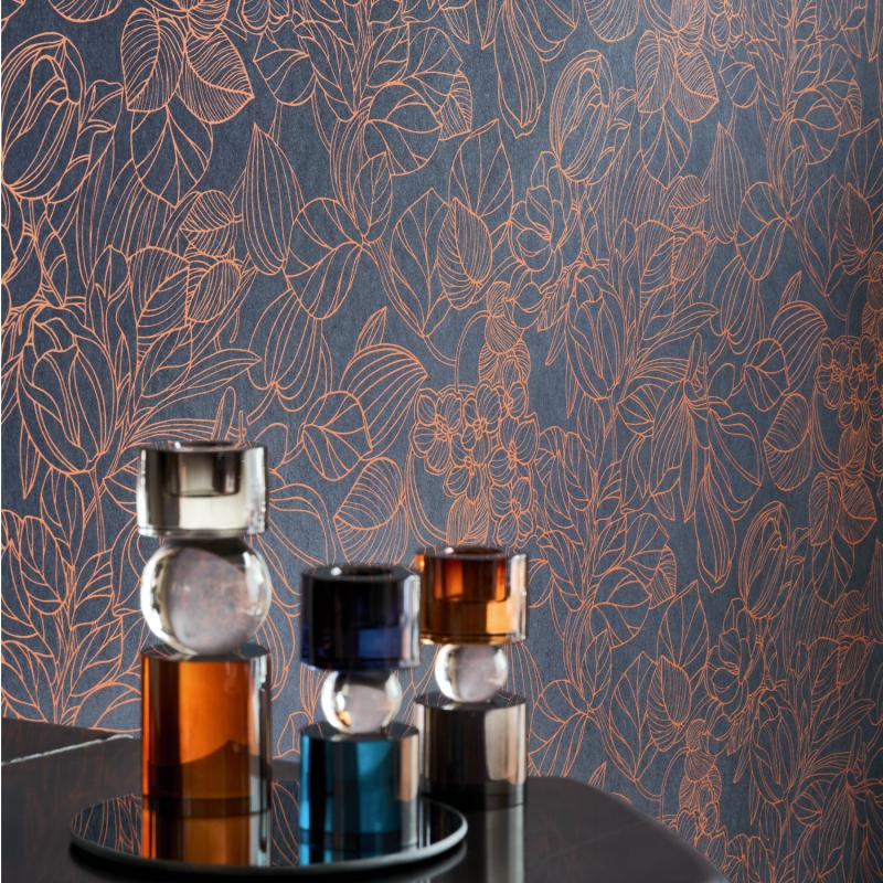 Papier peint Gravure bleu et cuivre - 1930 - Casadeco - MNCT85726526