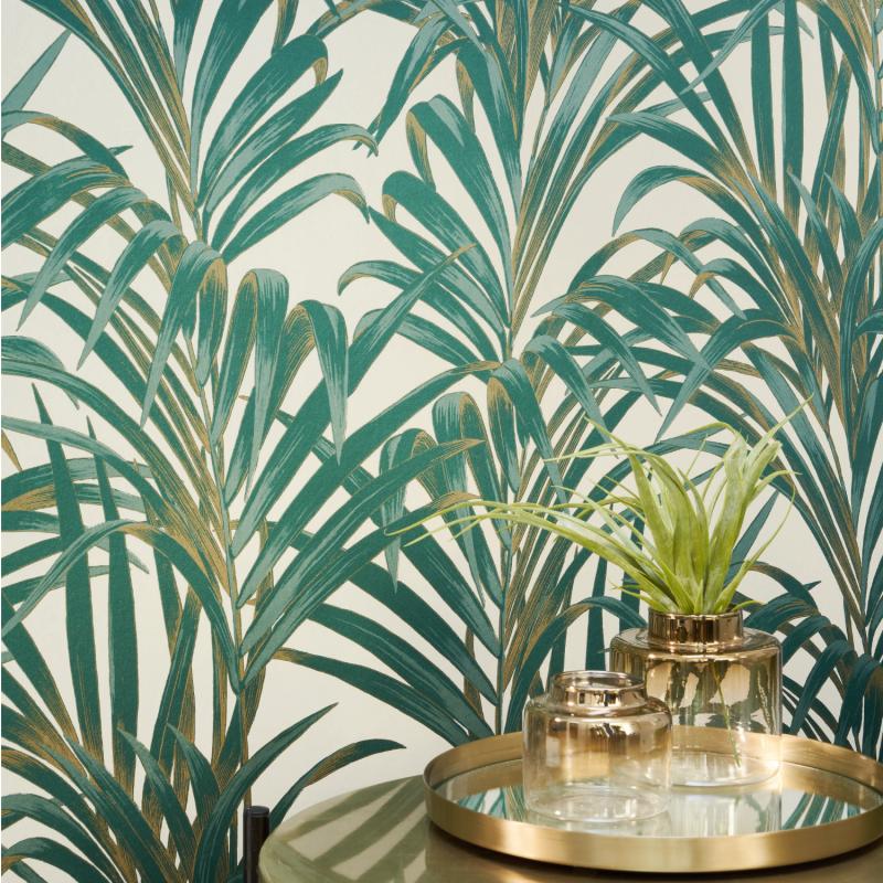 Papier peint Fougères vert et or - 1930 - Casadeco - MNCT28927222