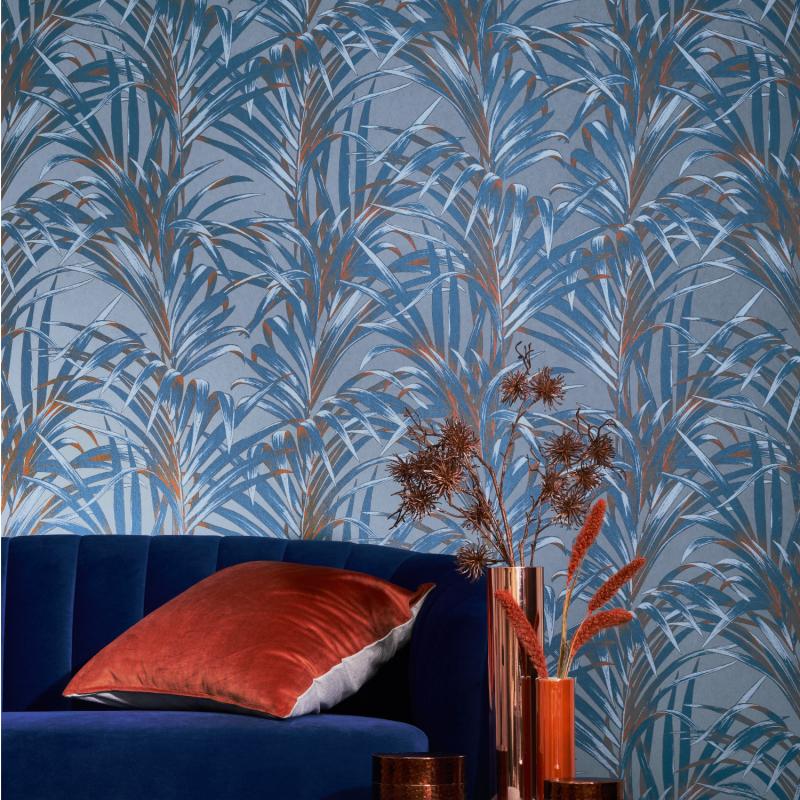 Papier peint Fougères bleu et cuivre - 1930 - Casadeco - MNCT28926404