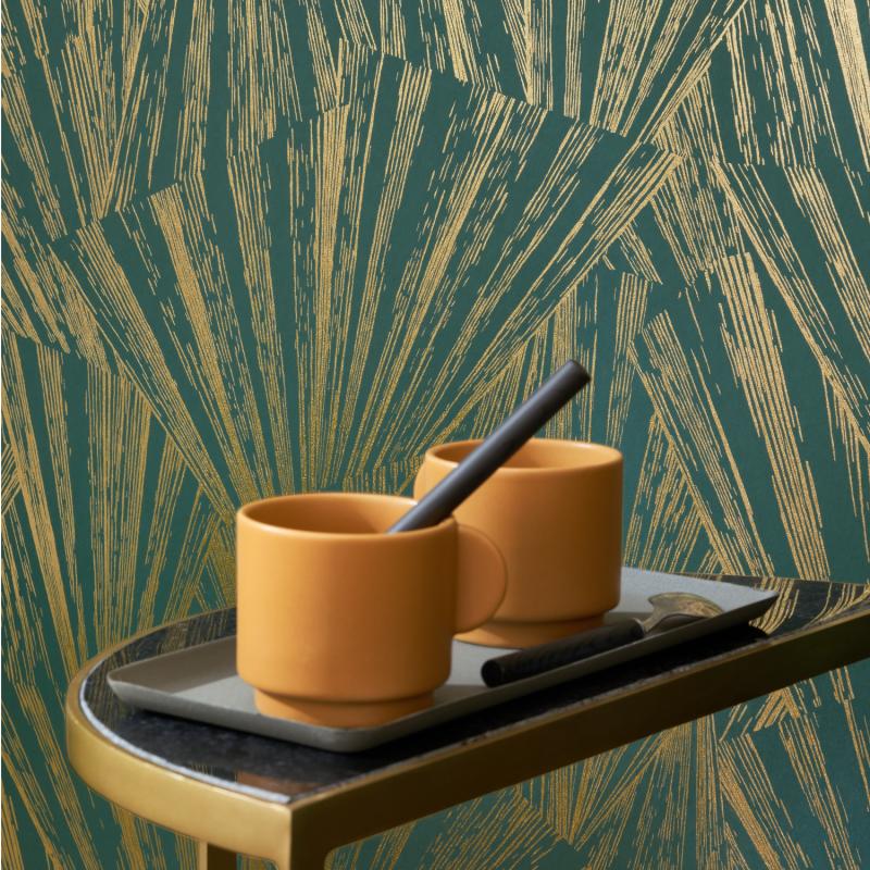 Papier peint Eclat Foil vert et or - 1930 - Casadeco - MNCT85747507