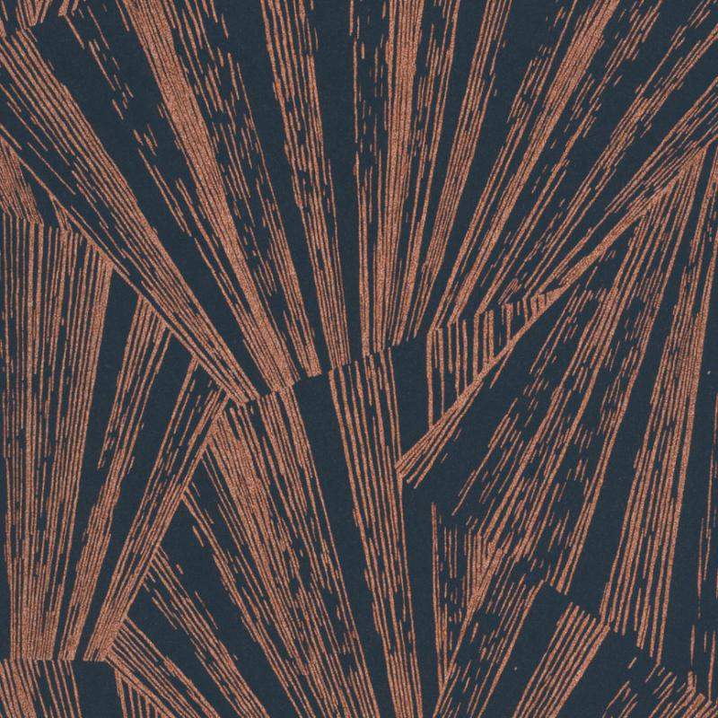 Papier peint Eclat Foil bleu et cuivre - 1930 - Casadeco - MNCT85746535