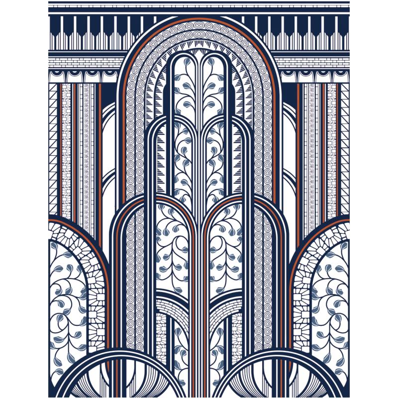 Panoramique Paravent bleu et cuivre - 1930 - Casadeco  - MNCT85876543