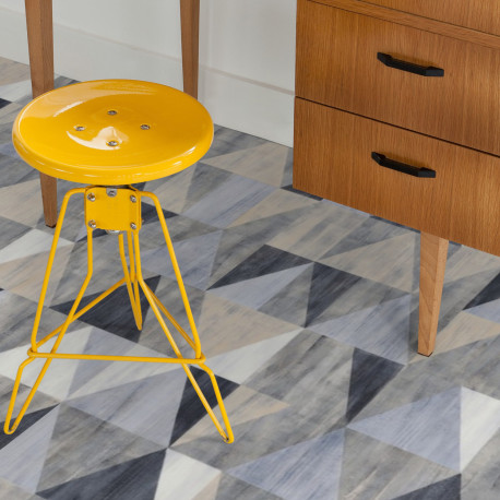 Sol PVC - Diamond Blue triangles bleu gris - Booster GERFLOR - rouleau 4M