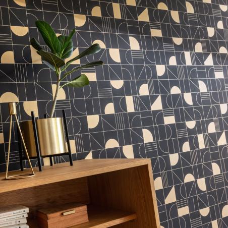 Papier peint Puzzle noir et doré - LABYRINTH - Caselio - LBY102109026