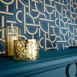 Papier peint Impass bleu pétrole et doré - LABYRINTH - Caselio - LBY102126021