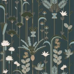 Papier peint Ephemeral bleu, kaki et doré - LABYRINTH - Caselio - LBY102096175
