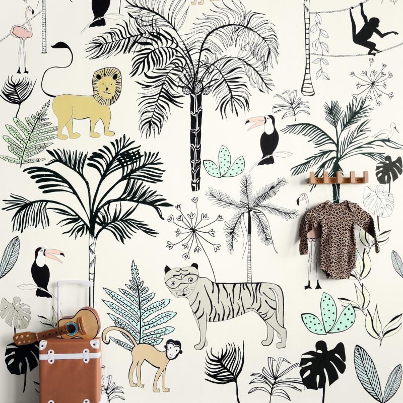 Panoramique Jungle Kids blanc - BAMBINO - Rasch - Studio Class BBN842173