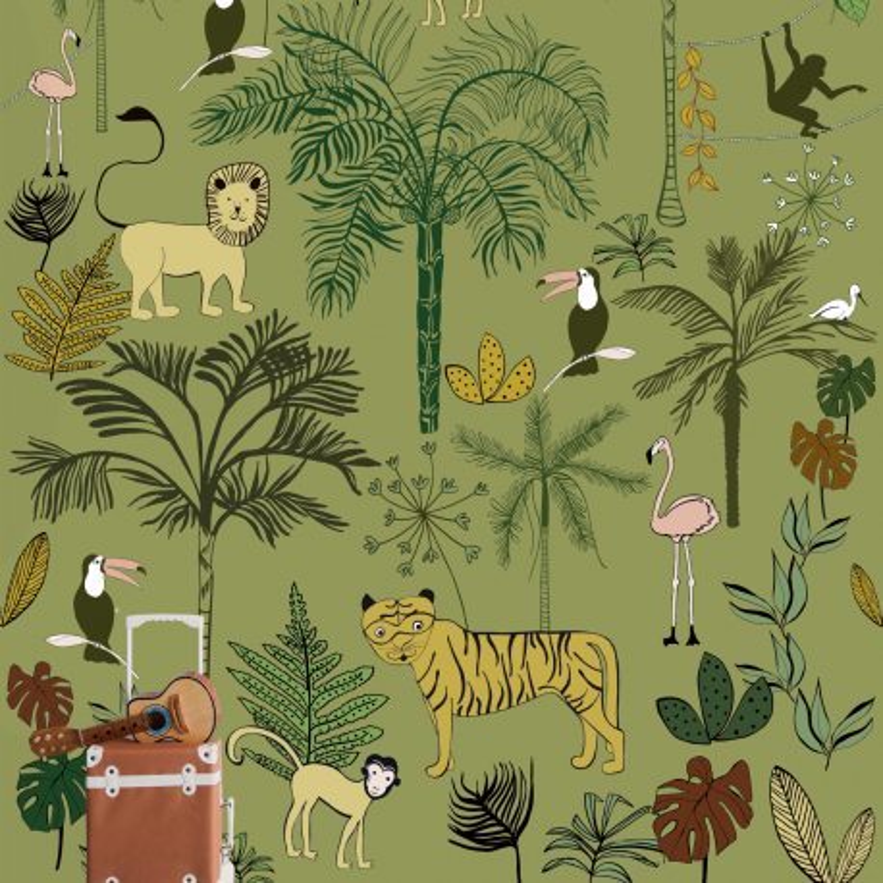 Panoramique Jungle Kids vert kaki - BAMBINO - Rasch - Studio Class BBN842142