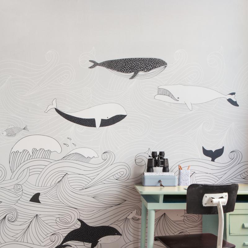 Panoramique Sous l'Océan noir et blanc - BAMBINO - Rasch - Studio Class BBN842531
