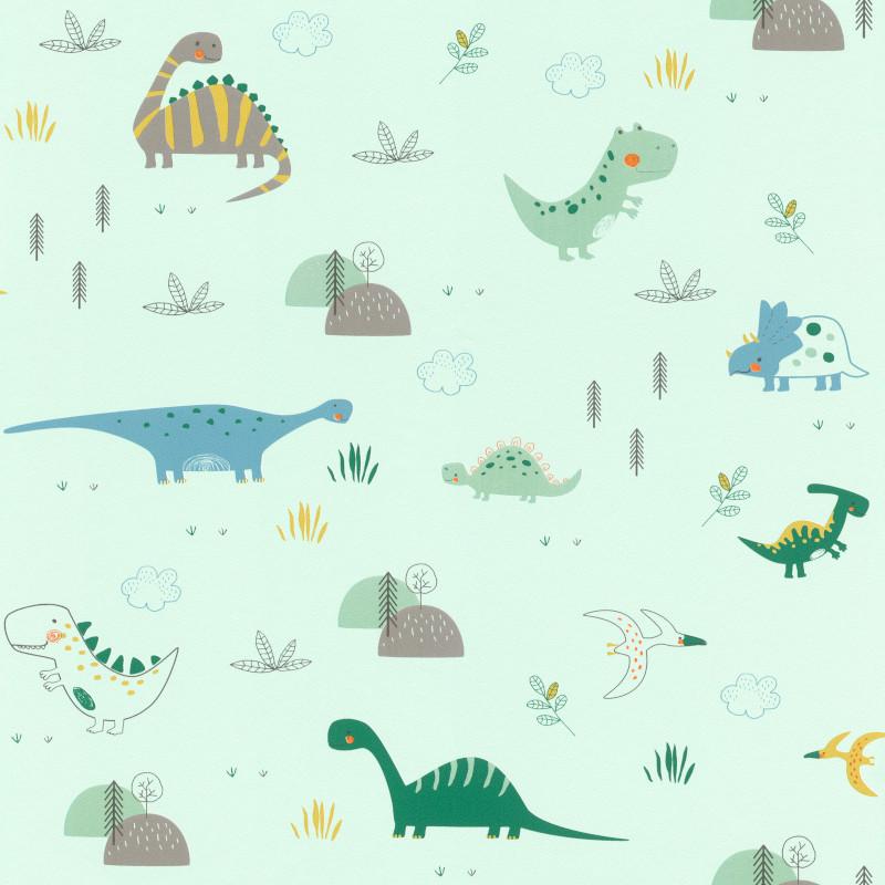 Papier peint Dinosaures vert d'eau - BAMBINO - Rasch - BBN249330