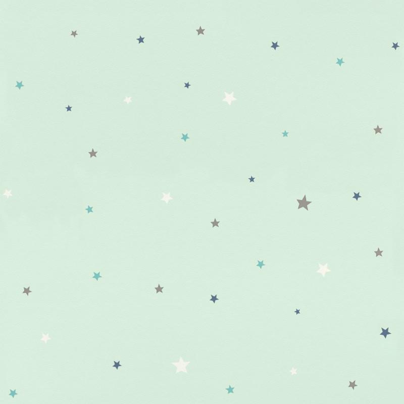 Papier peint Etoiles vert d'eau - BAMBINO - Rasch - BBN245240