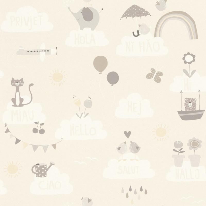 Papier peint Hello beige - BAMBINO - Rasch - BBN249446
