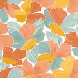 Papier peint August vert d'eau ocre doré - FLOWER POWER - Caselio - FLP101887023
