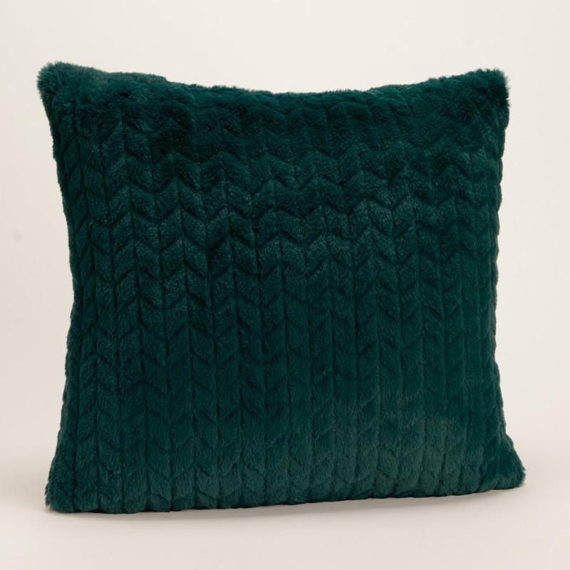 Coussin chevron uni vert émeraude - 40x40cm - Korb Amadeus
