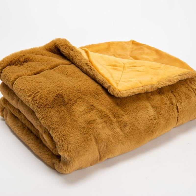 Plaid Luxe camel tout doux - 130x170cm - Amadeus