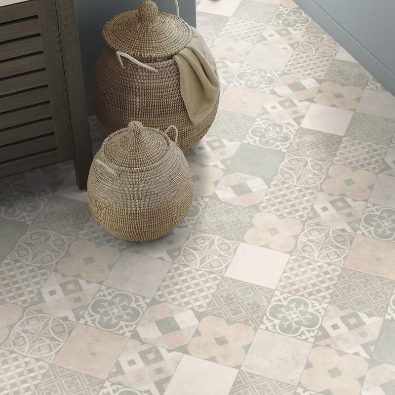 Sol PVC - Zaragoza Tile Powder - Iconik Life TARKETT - rouleau 4M