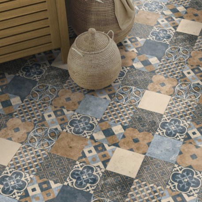 Sol PVC - Zaragoza Tile Indigo - Iconik ConforTex TARKETT - rouleau 3M