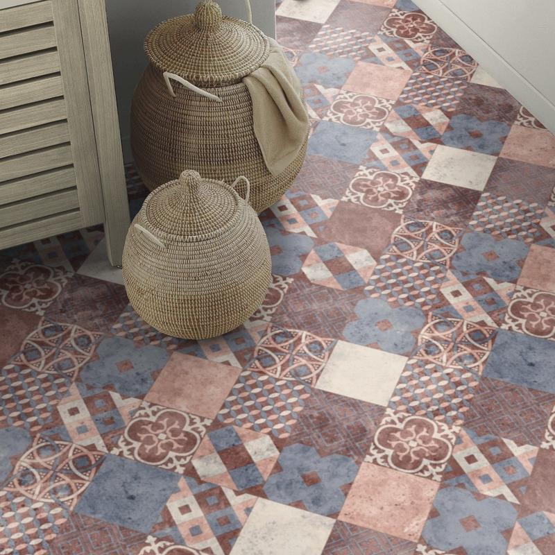 Sol PVC - Zaragoza Tile Ruby - Iconik Life TARKETT - rouleau 3M
