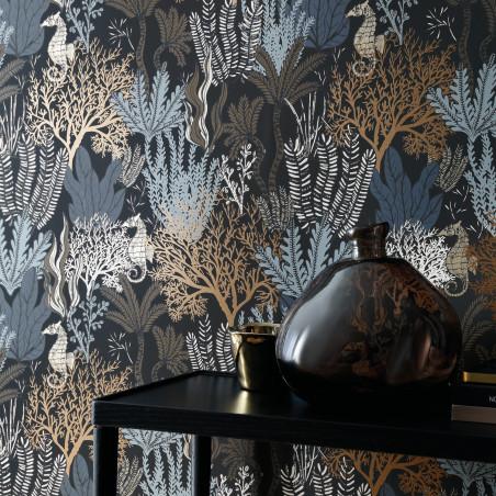Papier peint Posidonie noir - ORPHEE - Casamance - 74700406