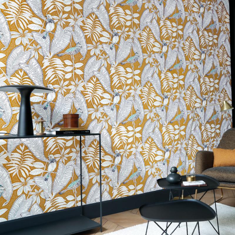 Papier peint Sibia moutarde - ORPHEE - Casamance - 74752454