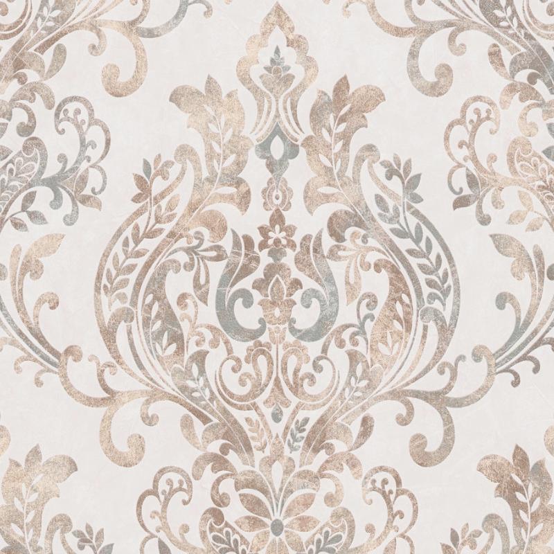 Papier peint Baroque Floral beige et cuivré  - AS Creation - 37681-1