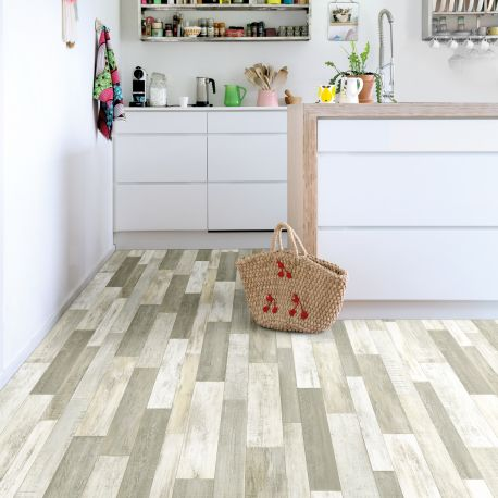 Sol PVC - Cuban Oak Multico 901L patchwork bois beige - Optima Feelings BEAUFLOR - rouleau 4M