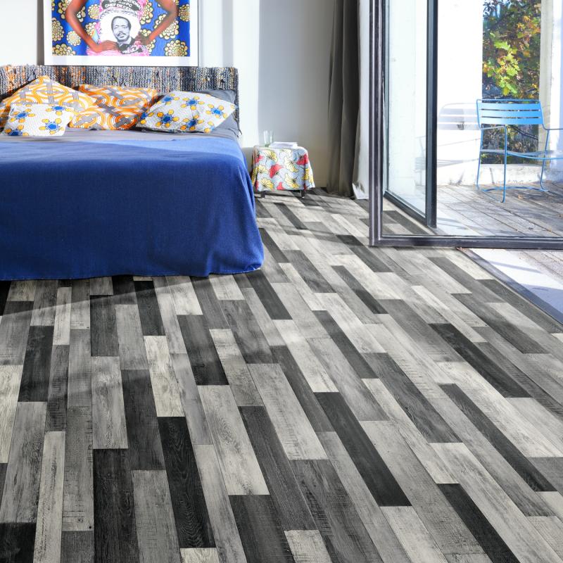 Sol PVC - Cuban Oak Multico 909M patchwork bois gris métallisé - Plaza BEAUFLOR - rouleau 3M