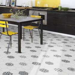 Sol PVC - Aragon 090L carreaux de ciment blanc - Prima SafeTex BEAUFLOR - rouleau 2M