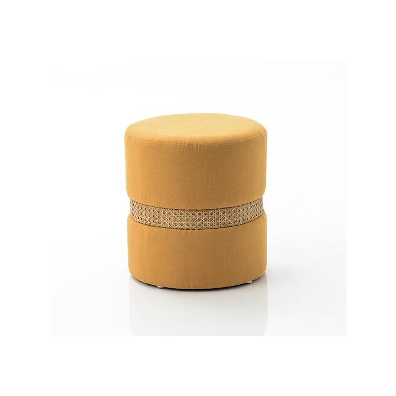 Tabouret Elodie cannage jaune moutarde- 39x35cm - Amadeus - 148377