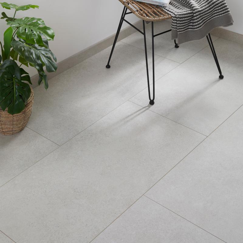 """Dalle céramique clipsable """"Teneguia 50CERA0190B"""" gris clair - Ceratouch - CORETEC"""