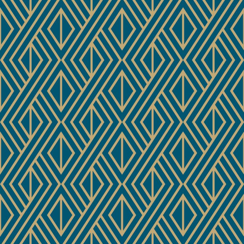 Papier peint adhésif Art Deco bleu - LES ADHESIFS - Lutèce - 68190201