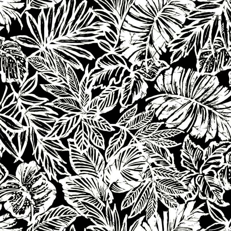 Papier peint adhésif Batik Leaf noir - LES ADHESIFS - Lutèce - RMK11439