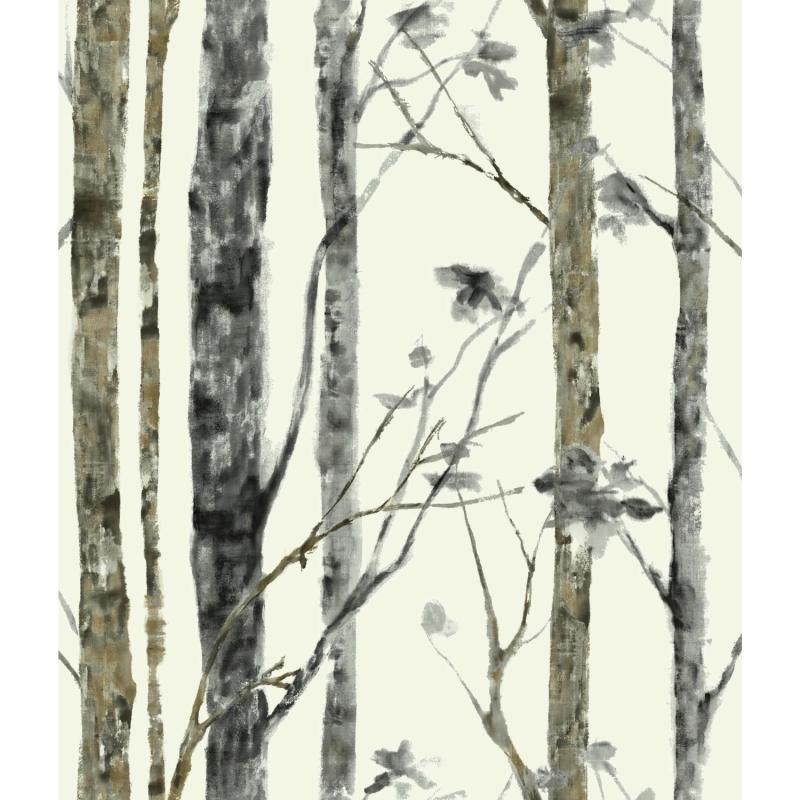 Papier peint adhésif Birch Trees gris - LES ADHESIFS - Lutèce - RMK9047