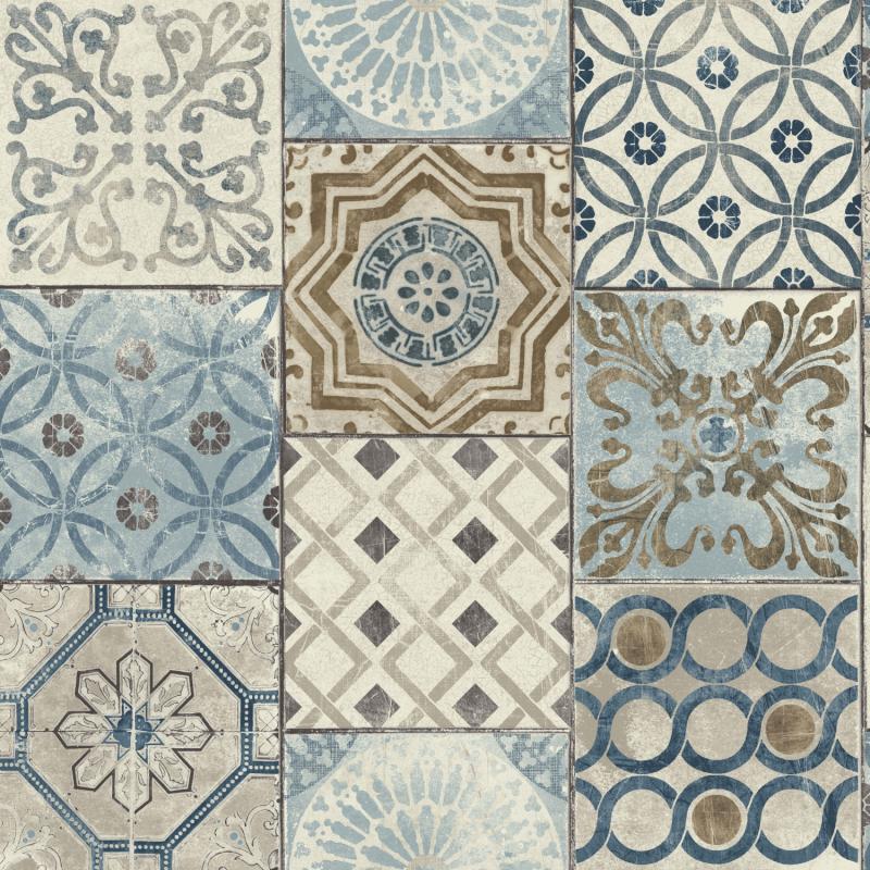 Papier peint adhésif Carreaux de ciment bleu - LES ADHESIFS - Lutèce - NW30002